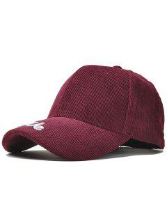 Letter Embroidery Duck Tongue Baseball Hat - Wine Red
