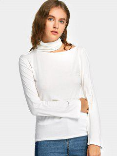 High Neck Langarm T-Shirt - Weiß