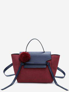 Pompom Color Blocking PU Leather Crossbody Bag - Red