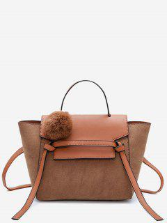 Pompom Color Blocking PU Leather Crossbody Bag - Brown