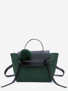 Pompom Color Blocking PU Leather Crossbody Bag - Green