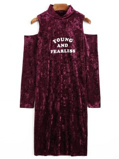 Cold Shoulder Letter Velvet Dress - Burgundy M