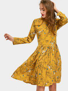 Floral Print Long Sleeve Pleated Dress - Ginger M