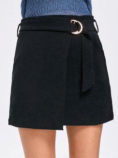 Falda Mini Embellecida De Cintura Alta - Negro L