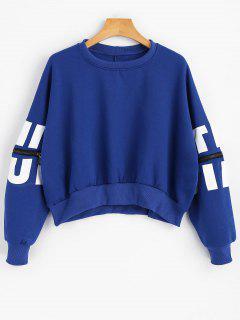 Cutout Zipper Sleeve  Crop Sweatshirt - Blue