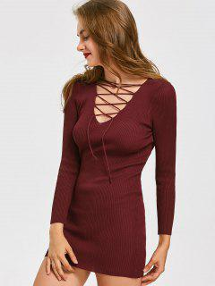 Lace Up Ribbed Mini Knitted Dress - Deep Red