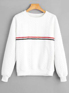 Sweatshirt Mit Streifenmuster Und Geflochtenem Muster  - Weiß M