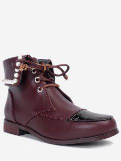 Lace Up Faux Pearl Boots - Wine Red 40