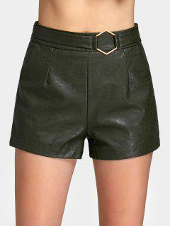 Metal Geometry High Waist PU Leather Shorts - Army Green S