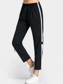 Lace Up Color Trim Capri Pants - Black M