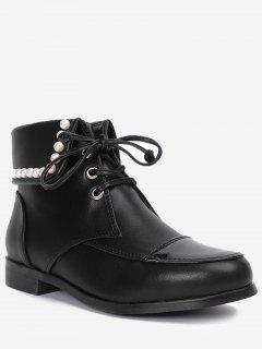 Lace Up Faux Pearl Boots - Black 39