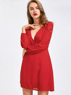 Plunging Neck Mini Chiffon Dress - Red M