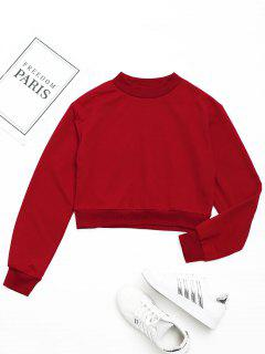 Crew Neck Crop Sweatshirt - Red M