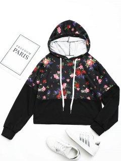 Drswstring Floral Hoodie - Black M