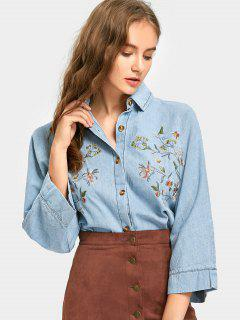 Flower Embroidery Long Sleeve Denim Shirt - Light Blue