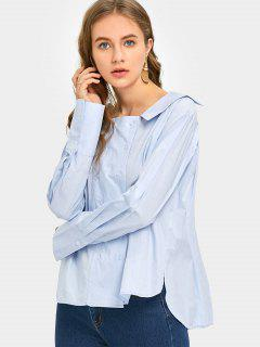 Double Breasted Long Sleeve Asymmetrical Shirt - Light Blue