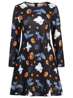 Ghost Pumpkin Graphic Halloween Flare Dress - Black Xl