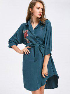 Floral Patched Belted High Low Shirt Dress - Blue Green S