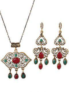 Boho Style Lip Shape Rhinestone Embellished Jewelry Set - Red