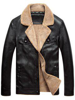 Fleece Single Breasted PU Leather Jacket - Black 4xl