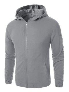 Hooded Zip Up Graphic Embroidered Jacket - Gray 4xl