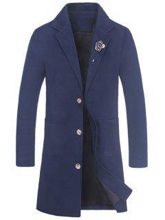 Slot Pocket Rose Embellishment Wool Blend Coat - Blue 3xl