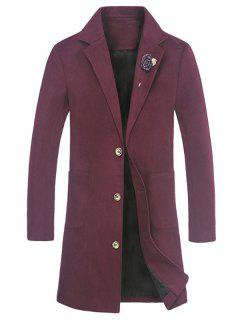 Schlitz Tasche Rose Verschönerung Wollmischung Mantel - Rot L