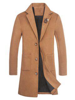 Slot Pocket Rose Embellishment Wool Blend Coat - Khaki 2xl