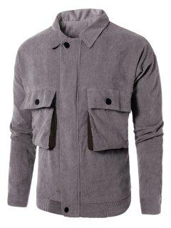 Turndown Collar Graphic Embroidered Pockets Corduroy Jacket - Gray L