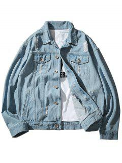 Chest Pocket Button Up Ripped Denim Jacket - Light Blue M
