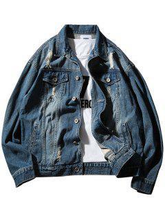 Chest Pocket Button Up Ripped Denim Jacket - Marina De Guerra M