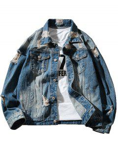 Chest Pocket Denim Jacket With Extreme Rips - Blue L