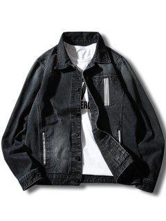 Button Up Stripe Detail Pocket Denim Jacket - Black Xl