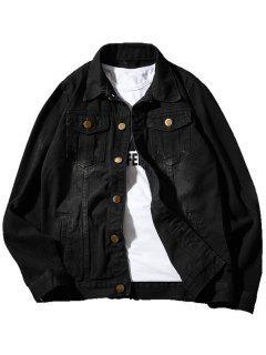 Double Chest Pocket Casual Denim Jacket - Black 5xl