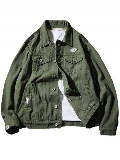 Chest Pocket Camo Panel Jacket - Army Green L