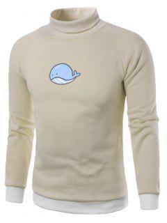 Schildkröte-Hals-Cartoon-Cetacean-Druck-Vlies Pullover - Khaki L