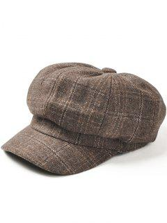 Vintage Checked Pattern Wool Blended Beret Hat - Camel