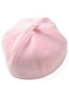 Soft Artificial Wool Beanie Beret Hat - Pink