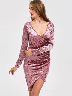 Tiefer Ausschnitt Samt Asymmetrisches Kleid - Pink S