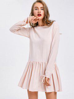 Back Button Long Sleeve Flare Dress - Light Pink M