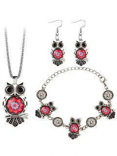 Owl Gem Embelli Collier Boucle D'oreille Bracelet - Rouge