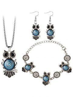 Owl Gem Embellished Necklace Earring Bracelet Set - Blue