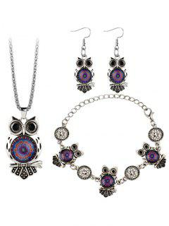 Owl Gem Embellished Necklace Earring Bracelet Set - Purple