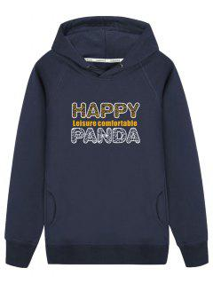 Graphic Happy Panda Hoodie - Cadetblue 2xl