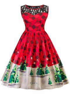 Vintage Lace Insert Christmas Pin Up Skater Dress - Red L