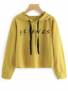 Drawstring Loose Letter Cropped Hoodie - Ginger S