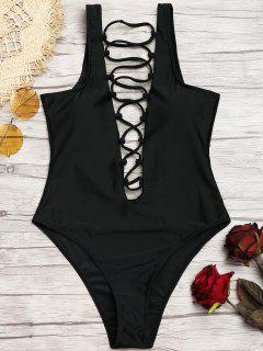 Strappy High Cut One Piece Swimwear - Black S