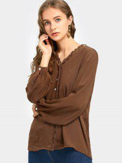 Lace Trim Button Up Long Sleeve Blouse - Coffee