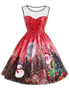 Christmas Santa Claus Snowman Mesh Panel Dress - Red S