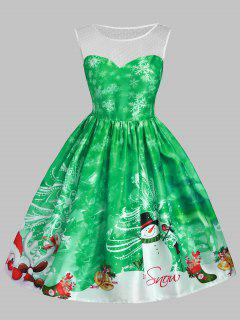 Christmas Snowman Snowflake Mesh Panel Dress - Green L